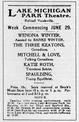 1902 ad for a performance at Muskegon's Lake Michigan Park Theater